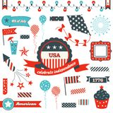 July 4th Badges, design elements and clipart. USA Independence day badges, decorative elements and festive icons Stock Photography