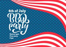 July 4th BBQ Party lettering invitation to American independence day barbeque with July 4th decorations stars, flags, on blue vector illustration