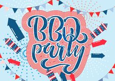 July 4th BBQ Party lettering invitation to American independence day barbeque with July 4th decorations stars, flags, fireworks on. July 4th BBQ Party lettering royalty free illustration