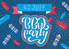 July 4th BBQ Party lettering invitation to American independence day barbeque with July 4th decorations stars, flags, fireworks on stock illustration