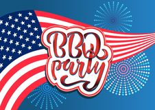 July 4th BBQ Party lettering invitation to American independence day barbeque with July 4th decorations stars, flags, fireworks on. July 4th BBQ Party lettering vector illustration