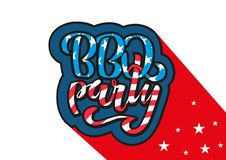 July 4th BBQ Party lettering invitation to American independence day barbeque with July 4th decorations stars, flags, fireworks on royalty free illustration