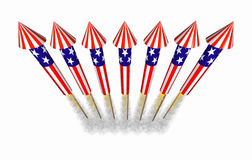 July 4th bottle rocket fireworks in flight Stock Image