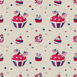 July 4th cupcakes seamless pattern. On beige background royalty free illustration