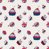 July 4th cupcakes seamless pattern. In cartoon style stock illustration