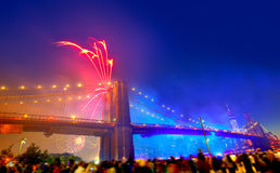 July 4th 2014 fireworks Brooklyn bridge Manhattan. July 4th 2014 fireworks at Brooklyn bridge Manhattan skyline New York USA Stock Image