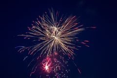 July 4th fireworks. Fireworks on July 4, 2015 in Floresville, Texas Royalty Free Stock Image