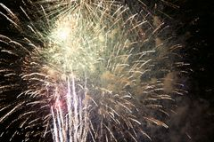 July 4th fireworks at night event. Taken in Richardson, Texas during the summer of 2017 at a 4th of July event held by the city at night. Camera used Canon Rebel Stock Photo