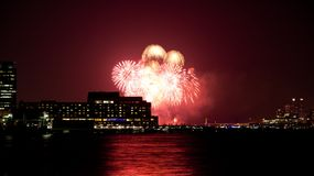 July 4th  fireworks. The 4th of July fireworks over the Hudson River Stock Photography