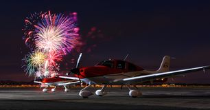 Fireworks and Airplanes in Cedar City. July 4th fireworks show over two airplanes at Cedar City Regional Airport Royalty Free Stock Photo