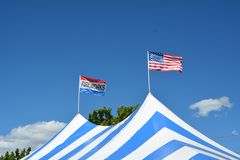 July 4th fireworks tent in Salem, Oregon stock images