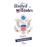 July 4th grunge typography. Independence day of the United States. Vintage coat of arms and flag for greeting cards and ban. Ners. EPS10 vector illustration