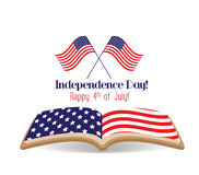 July 4th, Happy Independence Day with flag and book Royalty Free Stock Photos
