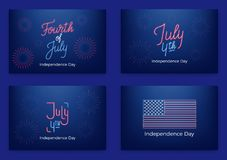 July 4th. Holiday banners for USA Independence Day. Set of modern cards, invitations, web banners for July Fourth.  Royalty Free Stock Photos