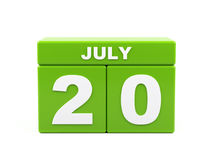 July 20th. Image of july 20, calendar on white background. 3d. Image Royalty Free Stock Photo