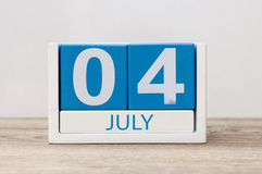July 4th. Image of july 4, calendar on white background. Summer day. Empty space for text. Independence Day Of America Stock Images