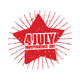 July 4th Independence Day of America. Emblem in grunge style. Re. D Star and rays Symbol for national patriotic national holiday in United States Royalty Free Stock Images