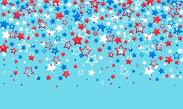July 4th Independence Day of America. Red blue and white stars decorations of confetti and serpentine on a blue background