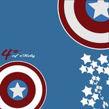 July 4th Independence Day. Stars and Captain Americao  background. July 4th Independence Day. Stars, Circle Red, Blue White, Captain America Icon Background. For Stock Photos