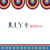 July 4th Independence Day. Stars, Circle Red, Blue White, Captain America Icon Background. For card, poster, Flyer, Greeting Vecto. R Illustration Royalty Free Stock Images