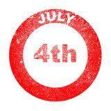 July 4th Ink Stamp. A 4th July red in stamp over a white background Stock Photo