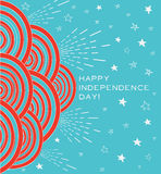 July 4th modern card template. Independence day background with circles, stars and rays that reads Happy Independence Day. Handmade style Stock Images