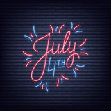 July 4th. Neon sign of lettering logo for USA Independence Day celebration.  Stock Image