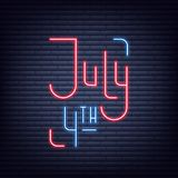 July 4th. Neon sign of lettering logo for USA Independence Day celebration.  Stock Photo