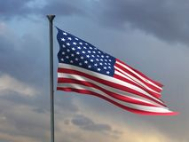 July 4th Banner, American Flag 3D Render, USA ART royalty free illustration