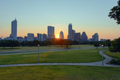 July 4th Sunrise Austin, Texas. A view of Downtown Austin, TX from Auditorium Shores, the location where the traditional 4th of July fireworks show will take Royalty Free Stock Photography