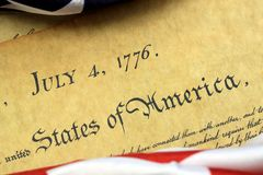 July 4th, 1776 - United States Bill of Rights. Preamble to the Constitution of the United States and American Flag Royalty Free Stock Images