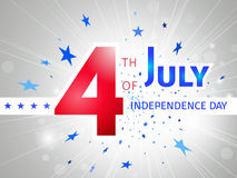 July 4th US Independence Day - poster with a glow and flying blu. E stars on a white background Royalty Free Stock Images