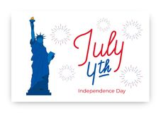 July 4th. USA Independence Day background design. Banner layout with July 4th lettering, Statue of Liberty and fireworks.  Stock Image