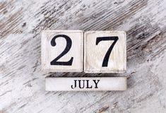 July 27th. Wooden Calendar Texture stock photos