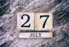 July 27th. Wooden Calendar Texture royalty free stock images
