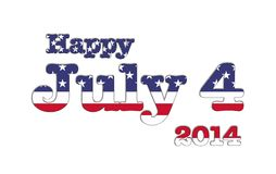 July 4 2014 USA. Illustration with July 4 USA flag on white background royalty free illustration