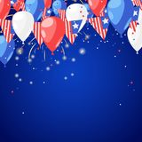 4 of July USA Independence Day. Abstract holiday celebration vector blue background. Fireworks and air balloons. 4 of July USA Independence Day. Abstract Stock Images