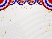 4 of July USA Independence Day. Abstract holiday frame with place for text. Vector white background with fireworks, flags and air royalty free illustration