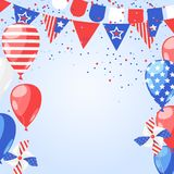 4 of July USA Independence Day. Abstract holiday frame. Vector white background with fireworks, flags and air balloons. 4 of July USA Independence Day. Abstract Royalty Free Stock Image