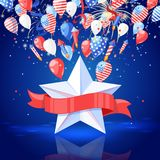 4 of July USA Independence Day. Holiday vector background. Star with red ribbon, fireworks and air balloons illustration. 4 of July USA Independence Day Royalty Free Stock Photos