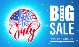 4 July USA Independence Day fireworks sale poster flyer Stock Image