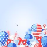4 of July USA Independence Day. Holiday celebration vector background. Fireworks, flags and air balloons illustration. 4 of July USA Independence Day. Abstract Stock Photo