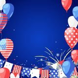 4 of July USA Independence Day. Holiday frame with place for text. Vector background with fireworks, flags, air balloons. 4 of July USA Independence Day Stock Photos