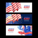 4 of July USA Independence Day. Horizontal holiday banner set with flag, salute and Statue of Liberty. Vector background. 4 of July USA Independence Day royalty free illustration