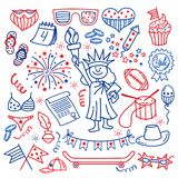 4 july. USA independence day icons isolated on white background.Hand draw traditional United States symbols . Doodle Royalty Free Stock Image