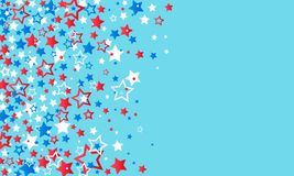 July 4, USA Independence Day. Red, blue and white stars decorations confetti on a blue background. Texture of falling colored. Stars. vector illustration royalty free illustration