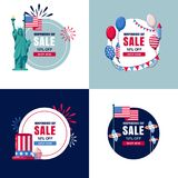 4 of July, USA Independence Day sale banners set. Vector holiday circle label, sticker backgrounds. With flag, air balloons and fireworks Royalty Free Stock Photo