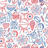4 july. USA independence day seamless background.Hand draw traditional United States symbols . Doodle style vector. Illustration vector illustration