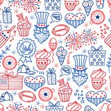4 july. USA independence day seamless background.Hand draw traditional United States symbols . Doodle style vector. Illustration Royalty Free Illustration