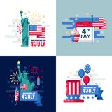 4 of July, USA Independence Day sticker, label design elements. Vector holiday greeting card illustration.  Stock Photos